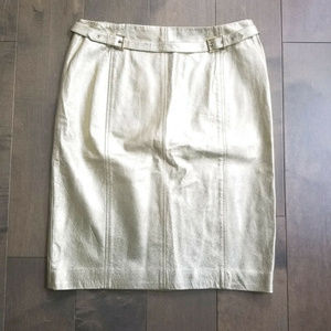 Womens Skirt Size 10 Pencil Leather Metallic Gold